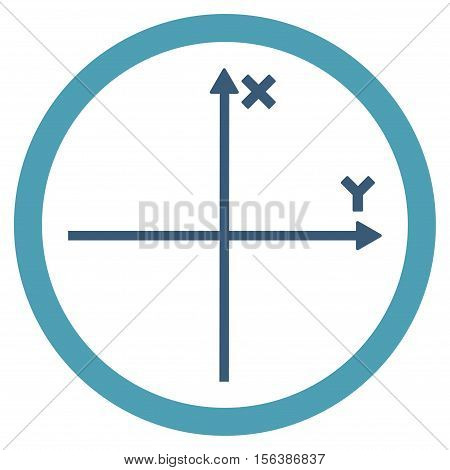 Cartesian Axis vector bicolor rounded icon. Image style is a flat icon symbol inside a circle, cyan and blue colors, white background.