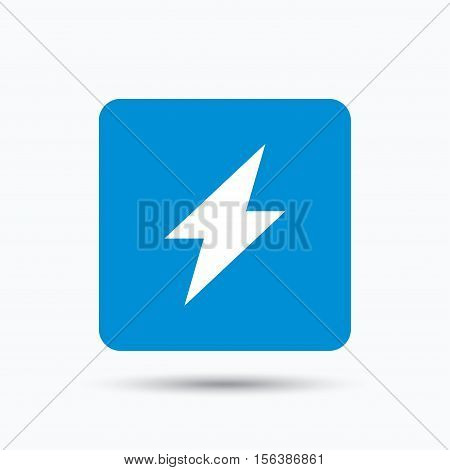 Lightning icon. Electricity energy power symbol. Blue square button with flat web icon. Vector