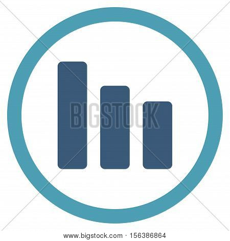 Bar Chart Decrease vector bicolor rounded icon. Image style is a flat icon symbol inside a circle, cyan and blue colors, white background.