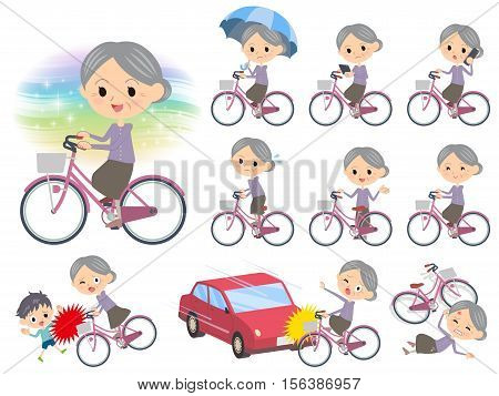Set of various poses of Purple clothes grandmother ride on city bicycle