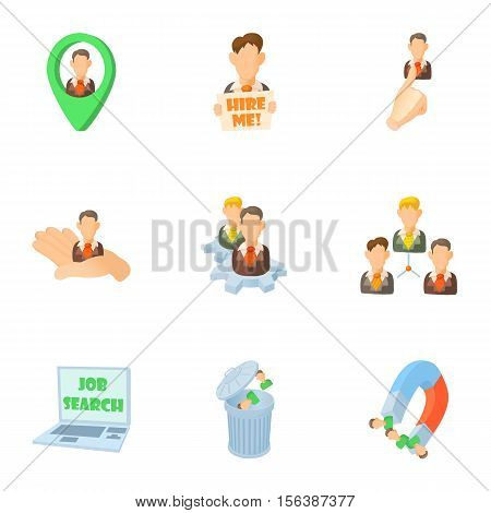 Staffing agency icons set. Cartoon illustration of 9 staffing agency vector icons for web poster