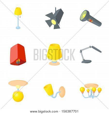 Light equipment icons set. Cartoon illustration of 9 light equipment vector icons for web