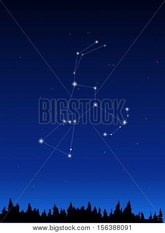 Orion Constellation on a dark night sky
