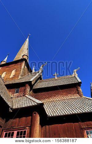 lomskyrkja, wooden, stave, church, skandinavia, old, norway, cultural asset, national treasure, brown, blue, Vikings,