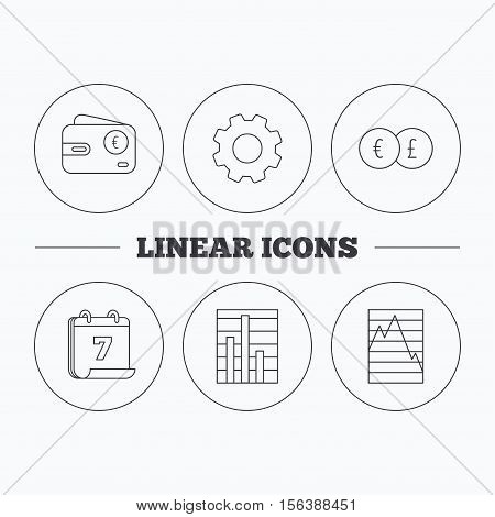 Currency exchange, chart and euro wallet icons. Statistics graph linear signs. Flat cogwheel and calendar symbols. Linear icons in circle buttons. Vector
