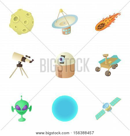 Galaxy icons set. Cartoon illustration of 9 galaxy vector icons for web