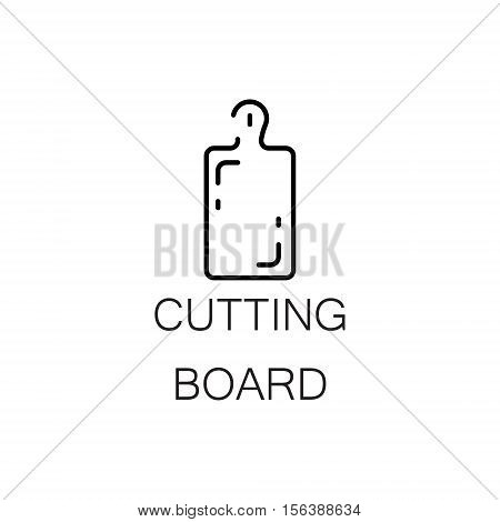 Cutting board flat icon. Single high quality outline symbol of kitchen equipment for web design or mobile app. Thin line signs of cutting board for design logo, visit card, etc. Outline pictogram of cutting board.