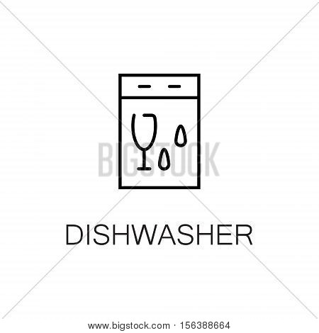 Dishwasher flat icon. Single high quality outline symbol of kitchen equipment for web design or mobile app. Thin line signs of dishwasher for design logo, visit card, etc. Outline pictogram of dishwasher