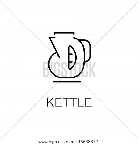 Kettle flat icon. Single high quality outline symbol of kitchen equipment for web design or mobile app. Thin line signs of kettle for design logo, visit card, etc. Outline pictogram of kettle