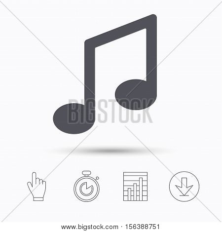 Music icon. Musical note sign. Melody symbol. Stopwatch timer. Hand click, report chart and download arrow. Linear icons. Vector