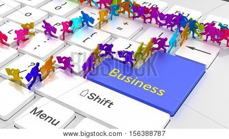 White computer keyboard closeup with the word business on a blue enter key and differently colored businessmen running between the keys busy online marketing concept 3D illustration