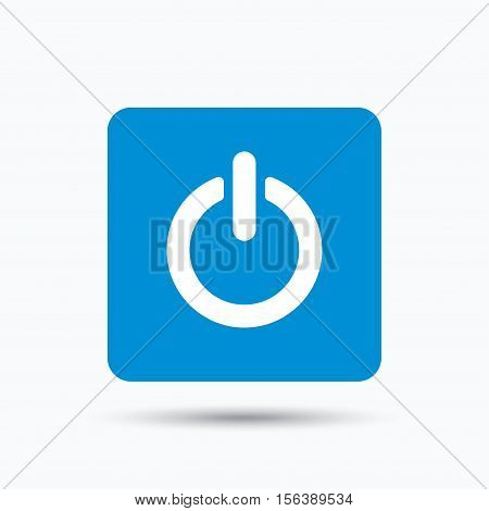 On, off power icon. Energy switch symbol. Blue square button with flat web icon. Vector