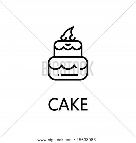 Cake flat icon. Single high quality outline symbol of sweets for web design or mobile app. Thin line signs of cake for design logo, visit card, etc. Outline pictogram of cake