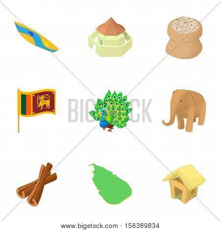 Tourism in Sri Lanka icons set. Cartoon illustration of 9 tourism in Sri Lanka vector icons for web