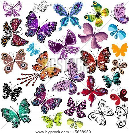 Big collection silhouette colorful butterflies for your design isolated on white vector