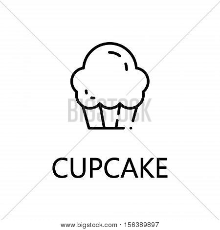 Cupcake flat icon. Single high quality outline symbol of sweets for web design or mobile app. Thin line signs of cupcake for design logo, visit card, etc. Outline pictogram of cupcake