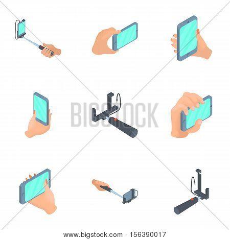 Mobile shooting icons set. Cartoon illustration of 9 mobile shooting vector icons for web