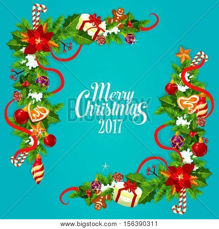 Merry Christmas greeting card with festive xmas garland. Holly berry and pine tree corner with candy cane, gift, star, ribbon, bauble ball, gingerbread man, cookie heart, snow and poinsettia flower