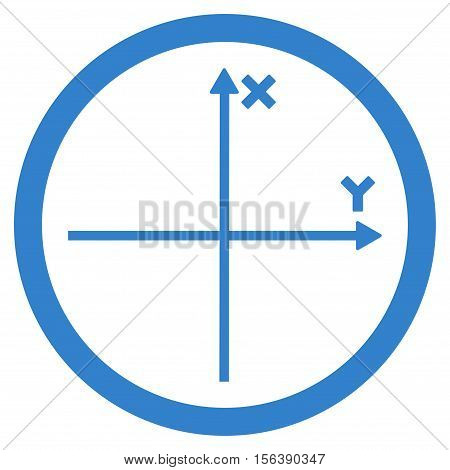 Cartesian Axis vector rounded icon. Image style is a flat icon symbol inside a circle, cobalt color, white background.