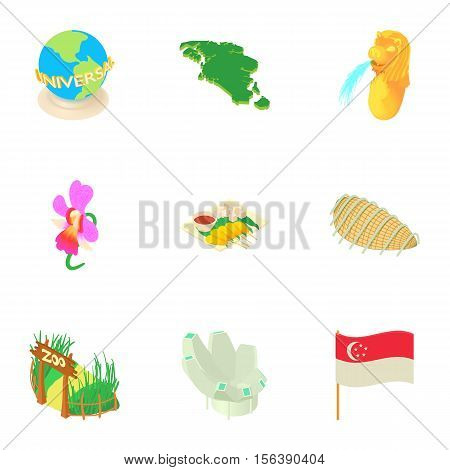 Tourism in Singapore icons set. Cartoon illustration of 9 tourism in Singapore vector icons for web