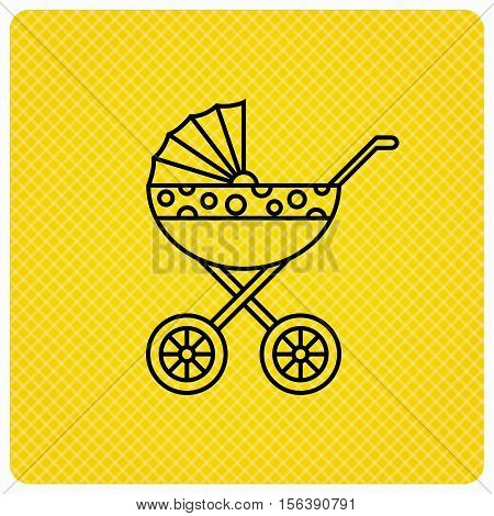 Pram icon. Newborn stroller sign. Child buggy transportation symbol. Linear icon on orange background. Vector