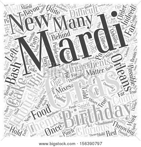 Throwing a Mardi Gras Birthday Bash word cloud concept