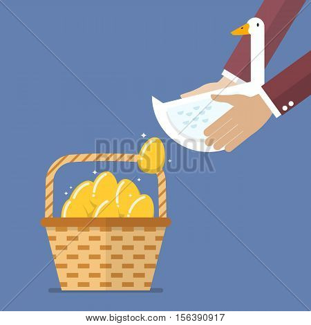 Businessman carrying goose with golden egg into basket. Business concept