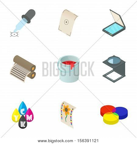 Printout icons set. Cartoon illustration of 9 printout vector icons for web