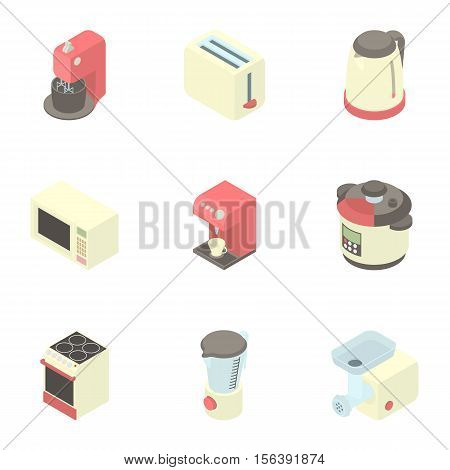 Kitchen gadgets icons set. Cartoon illustration of 9 kitchen gadgets vector icons for web