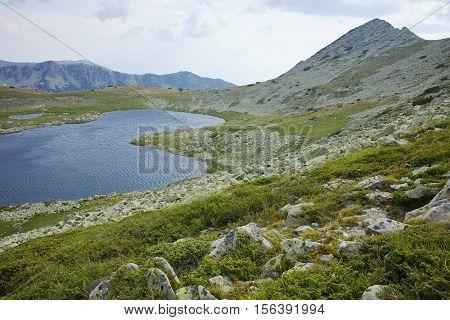Panorama of Tevno Lake and Valyavishki chukar peak, Pirin mountain, Bulgaria