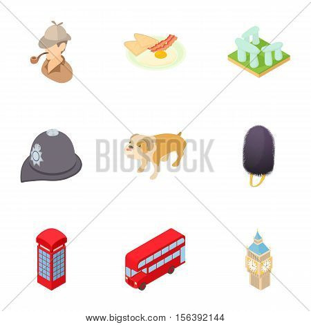 Tourism in England icons set. Cartoon illustration of 9 tourism in England vector icons for web