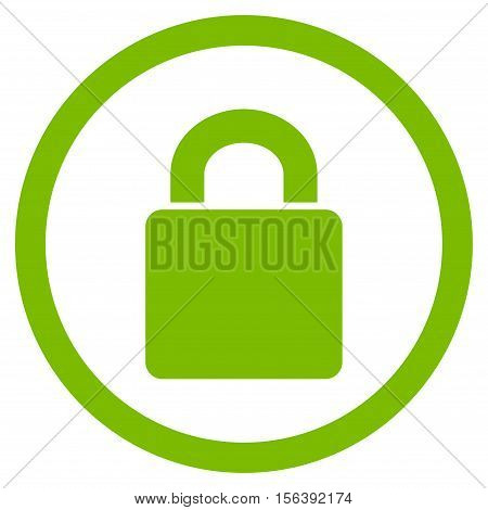 Lock vector rounded icon. Image style is a flat icon symbol inside a circle, eco green color, white background.