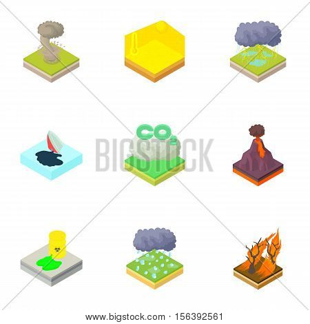 Natural disaster icons set. Cartoon illustration of 9 natural disaster vector icons for web