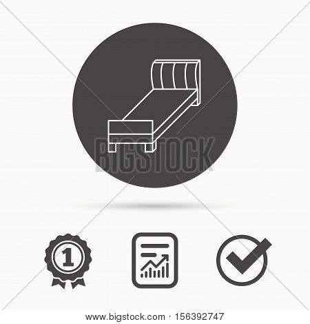 Single bed icon. Bedroom furniture sign. Report document, winner award and tick. Round circle button with icon. Vector