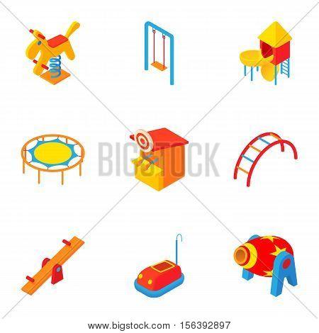 Children entertainment icons set. Cartoon illustration of 9 children entertainment vector icons for web