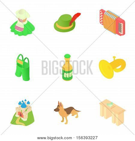Attractions of Germany icons set. Cartoon illustration of 9 attractions of Germany vector icons for web