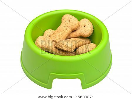 Green Bowl Of Bone-shaped Dog Biscuits