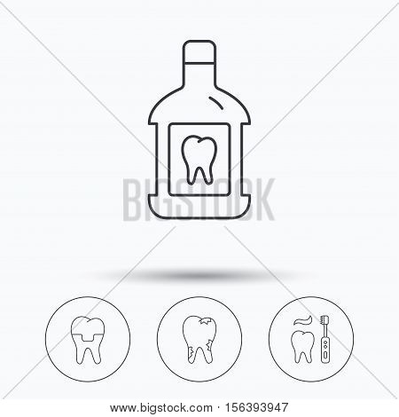 Caries, dental crown and mouthwash icons. Brushing teeth linear sign. Linear icons in circle buttons. Flat web symbols. Vector