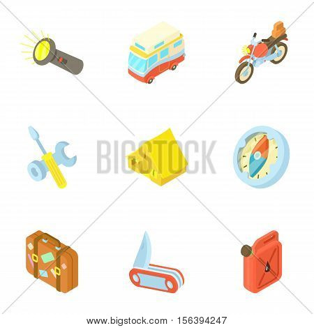 Rest on nature icons set. Cartoon illustration of 9 rest on nature vector icons for web