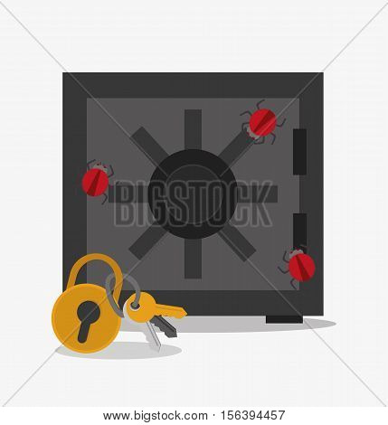 Padlock keys and strongbox icon. Security data and cyber system theme. Colorful design. Vector illustration