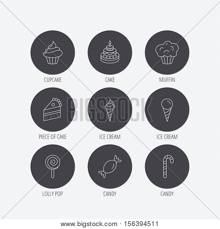 Cake, candy and muffin icons. Cupcake, ice cream and lolly pop linear signs. Piece of cake icon. Linear icons in circle buttons. Flat web symbols. Vector