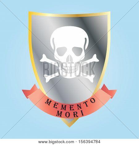 Memento Mori - handmade designer label. Design element for printing . Vector illustration
