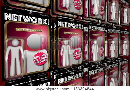 Network Social Interaction Meeting New People Action Figures 3d Illustration