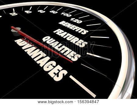 Advantages Benefits Qualities Speedometer 3d Illustration