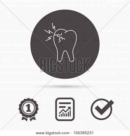 Toothache icon. Dental healthcare sign. Report document, winner award and tick. Round circle button with icon. Vector
