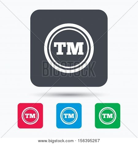 Registered TM trademark icon. Intellectual work protection symbol. Colored square buttons with flat web icon. Vector poster