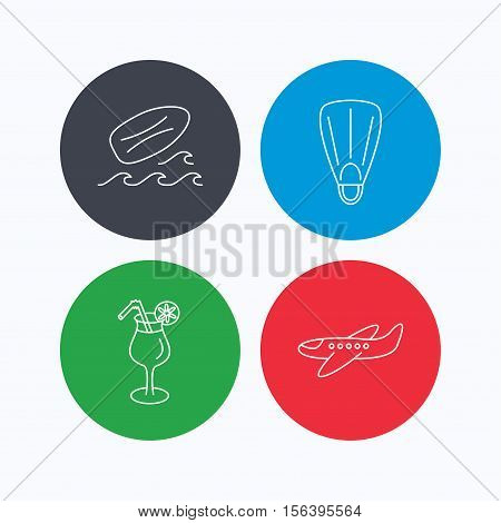 Surfboard, waves and cocktail icons. Flippers, airplane linear sign. Linear icons on colored buttons. Flat web symbols. Vector