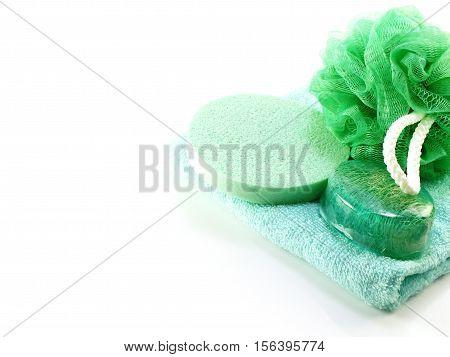 Green bath puff and loofah spa kit