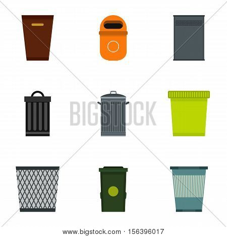 Rubbish bin icons set. Flat illustration of 9 rubbish bin vector icons for web