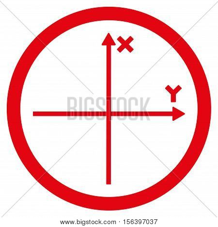 Cartesian Axis vector rounded icon. Image style is a flat icon symbol inside a circle, red color, white background.